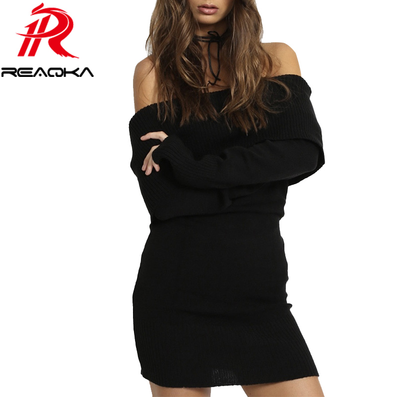 2018 Autumn Winter Long Sleeve Off Shoulder Knitted Sweater Dress Women Vintage Elegant Slim Sexy Bodycon Black Dresses Vestidos 2018 autumn