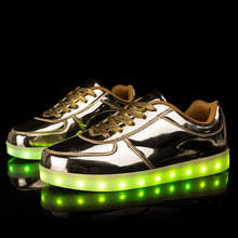 2017 Golden USB Rechargable Kid Led Light Up Shoes Breathable Girl And Boy Charging Luminous Lace Up Silver Sneakers