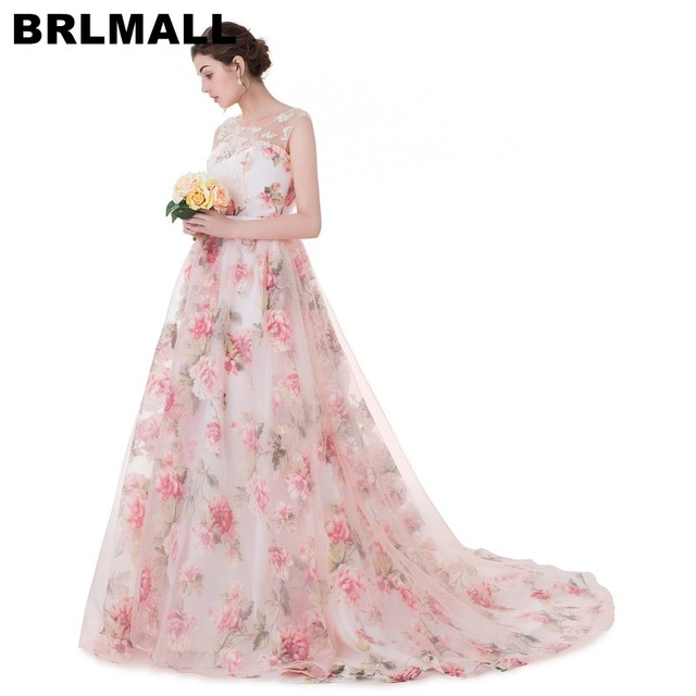 BRLMALL 2017 Trendy Lace appliques Print Wedding Dresses Lace up Ball Gown  Floral Sleeveless Bridal gowns Vestido De Noiva ccb68c620607