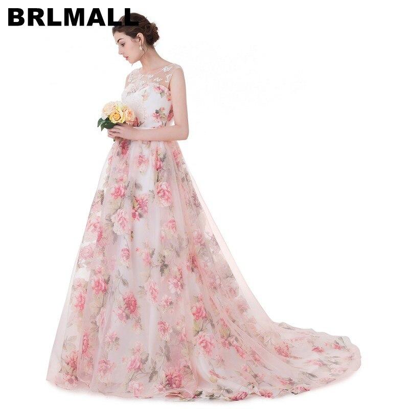 BRLMALL 2017 Trendy Spitze appliques Drucken Brautkleider Lace up ...
