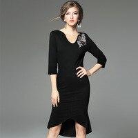 Novelty Asymmetrical Pencil Dress 2016 New High Quality Autumn Black Party Dress XL Elegant Women Clothing