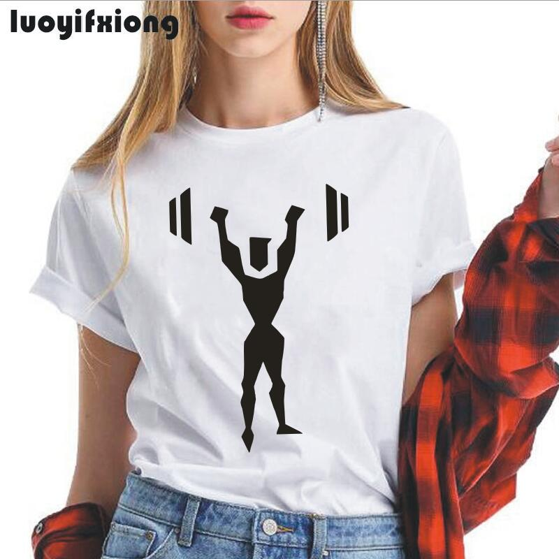 Luoyifxiong Weight Lifting Women Tshirt Short Sleeve Funny Tee Shirt Femme 2019 Summer Plus Size Hipster T Shirt Women Tops 2XL