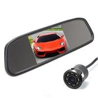 Free Shipping 4 3 TFT LCD Car Monitor With 8pcs LED HD Backup Camera 18 5MM