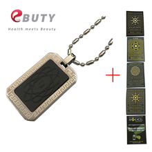 EBUTY Global Energy Pendant Health Stainless Steel Lava Charms with 4 in 1 Balls Curling + Anti-radiation Sticker Shield Free