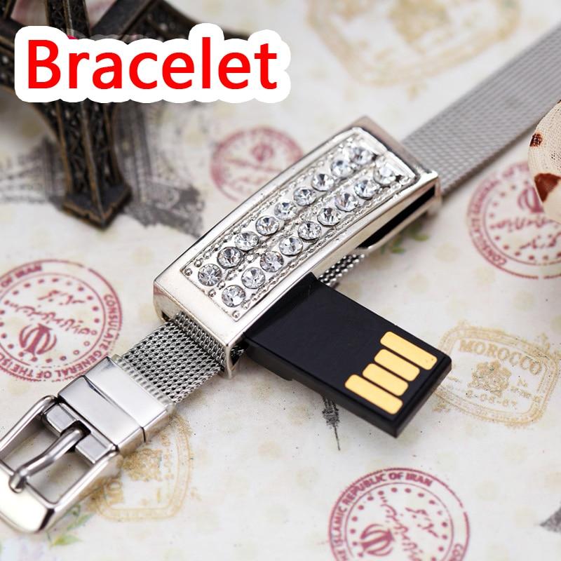 Hot Jewelry USB Flash Drive 512GB Crystal Silver Gold Bracelet Pen Drive 16GB 32GB 64GB Pendrive Usb Memory Stick Key 128GB Gift