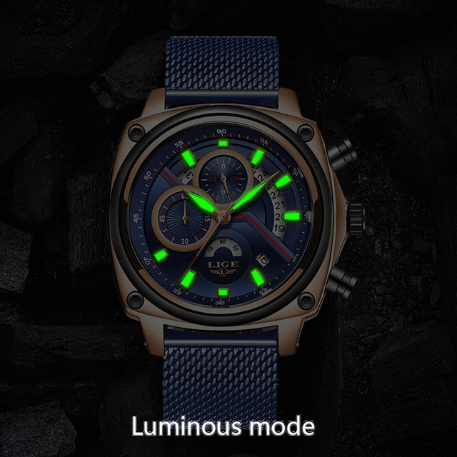 LIGE Luxury Casual Blue Clock Military Waterproof Chronograph Men Quartz Watches  1