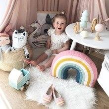 Радужная u-острая подушка для шеи для маленьких девочек, декоративная наволочка, милые детские подушки, игрушки для сна, мягкие плюшевые куклы, день рождения