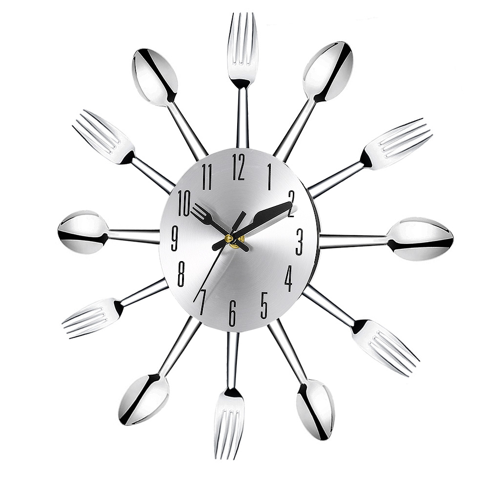 3D Wall Clock Stainless Steel Knife Fork Modern Design Large Kitchen ...