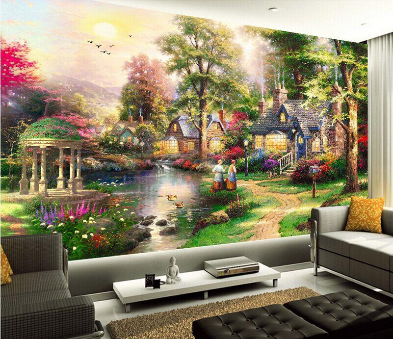 Бесплатная доставка diy 5d алмазная живопись мозаика пейзажи сад Лодж наборы для вышивки крестом бриллианты вышивка украшения дома