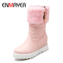 ENMAYER New Mid-Calf Boots For Women Fashion Winter Boots Warm Fur Shoes Slip Resistant Bottom Snow Boots Shoes Size 33-43