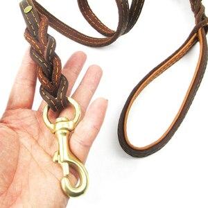 Image 5 - Trançado trela do cão de couro real dupla alça pet andando treinamento leva longa corda curta para pastor alemão médio grandes cães