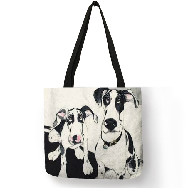 Fashion Dog Printed Tote Handbag