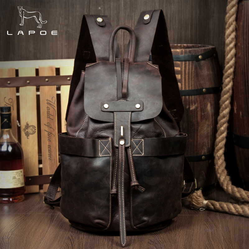 LAPOE New Travel Backpack Female Rucksack Leisure Student School Bag Genuine Leather Backpack Women And Man Vintage Bag