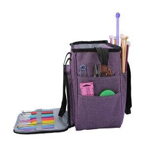 Image 5 - Portable Knitting Bag Yarn Storage Bag Tote for Wool Crochet Hooks Knitting Needles Sewing Supplies Set DIY Household Organizer