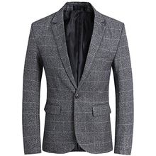 Mens Grey Plaid Suit Jacket Slim Fit Notch Lapel Coat Groom Evening Prom Casual Blazer Men One Button Fortmal Business Top notch lapel floral print back vent coat