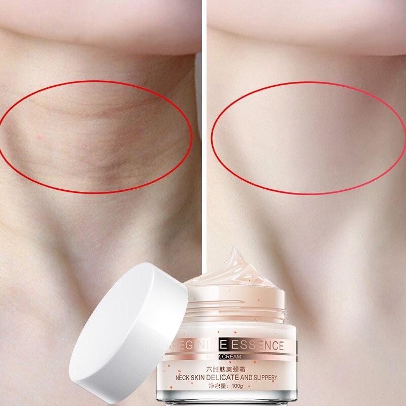 100g seis péptidos cuello crema Anti arrugas quitar el cuello que blanquea la máscara reafirmante cuello cuidado de la piel delicada y resbaladizo