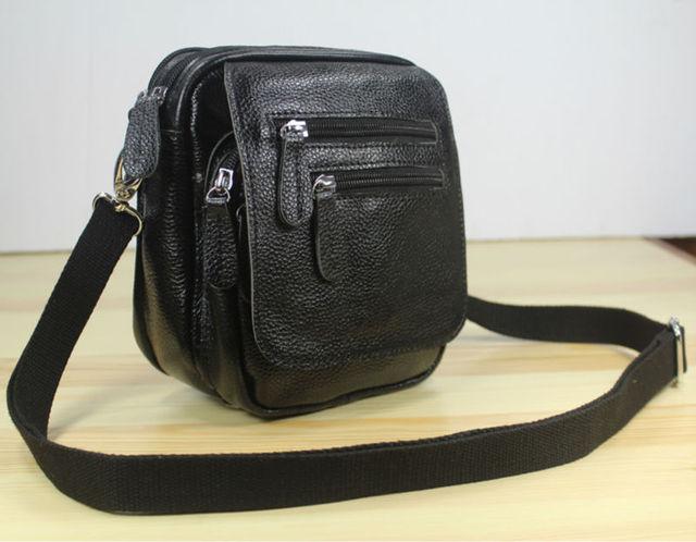 3use Multi Pocket Genuine Leather Messenger Bag Men Crossbody Small Shoulder Sling