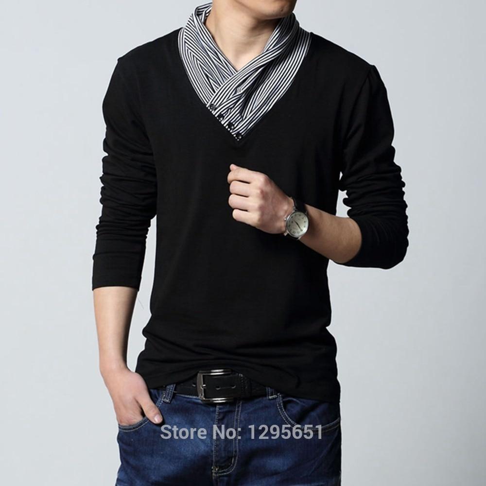Black t shirt red collar -  Unique Strip Collar Design Men Casual Cotton T Shirt Red Black 2 Colors Men Base