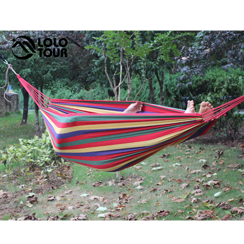 Patio Garden Double Canvas Hammock 2 People Camping Sleeping Hamaca Hamak Swing Hanging Chair Hamac Outdoor Furniture 240*150cm patio leisure luxury durable iron garden swing chair outdoor sleeping bed hammock with gauze and canopy