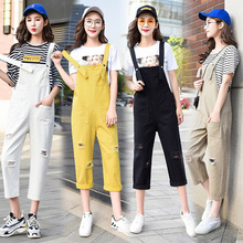 Spring Autumn Solid Color Jean Overalls Female Loose Jeans Rompers Womens Jumpsuit Casual Hole Pockets Denim Women