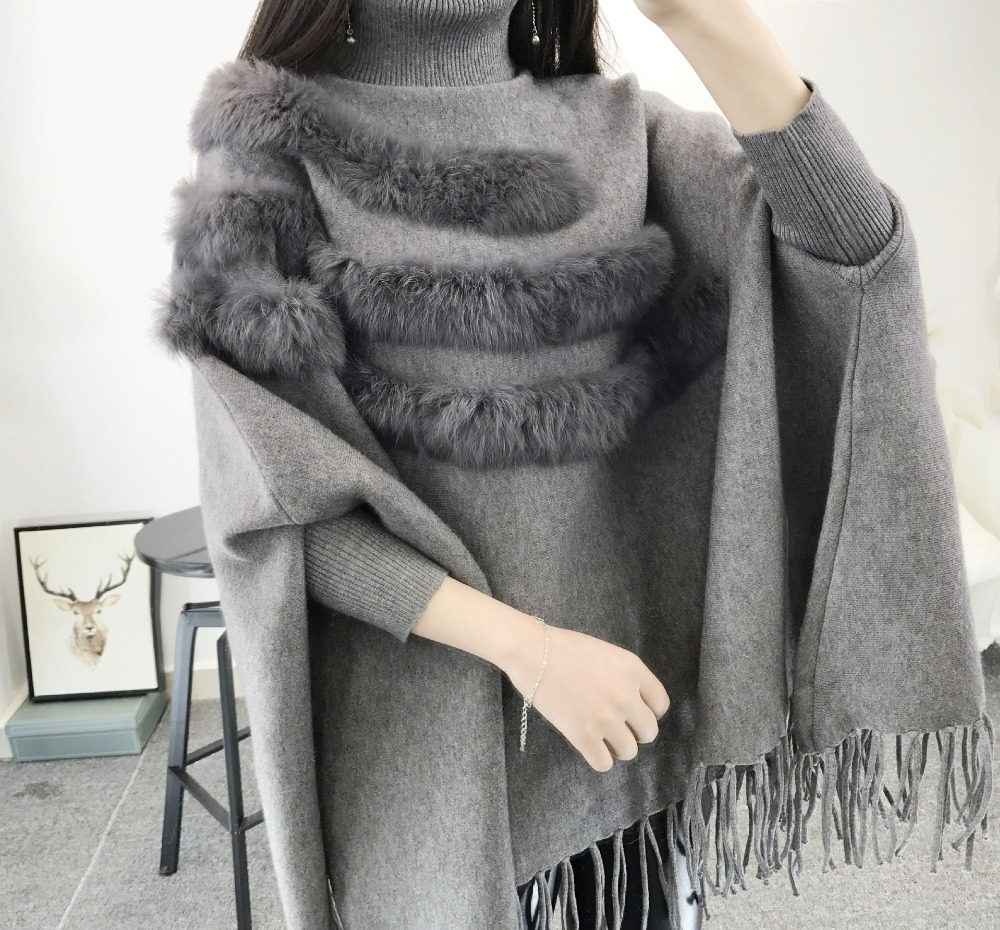 New Fashion Autumn And Winter Women High Collar Real Rabbit Fur Cloak Pullover Lady Bat Sleeves Tassel Poncho Sweater Knitwear in Cloak from Women 39 s Clothing