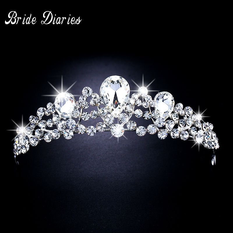 Bride Diaries New Fashion Wedding Crystal Crown Hair Jewelry High quality Handmade Rhinestone Bridal Tiaras Crown Accessories