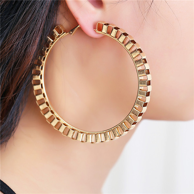 2018 New Fashion Big Circle Punk Hoop Earrings 7.5CM Diameter Gold/Sliver Plated