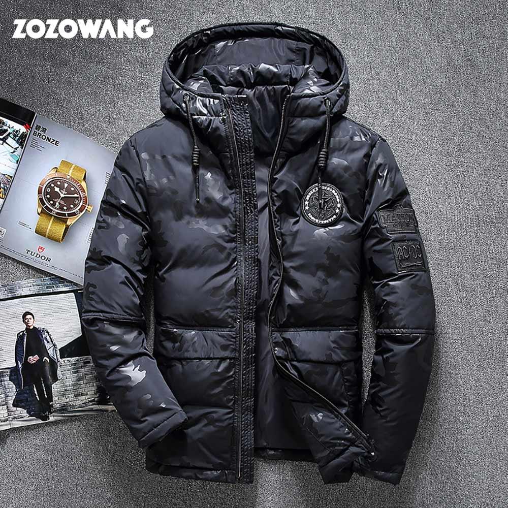 ZOZOWANG haute qualité hommes veste d'hiver épaisse neige parka pardessus blanc canard doudoune hommes coupe-vent bas manteau taille 4XL - 3