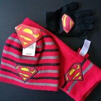 New Baby Kids Autumn Winter Warm Beanie Hat Toddler Infant Girls Boys Superman Hat Gloves Scarf