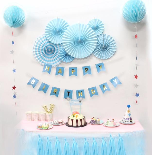 12pcs Set Boy Holiday Decorations Baby Shower Birthdays Party Decorations  DIY Kids Party Decor Blue Theme