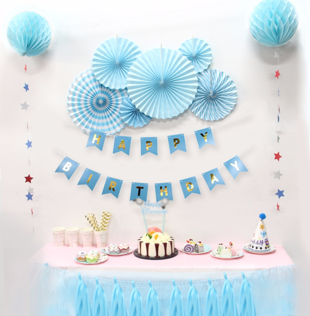 Baby Shower Birthdays Party Decorations Boy Holiday Decorations DIY Kids Party Decor Blue Theme Birthday Supplier 12pcs