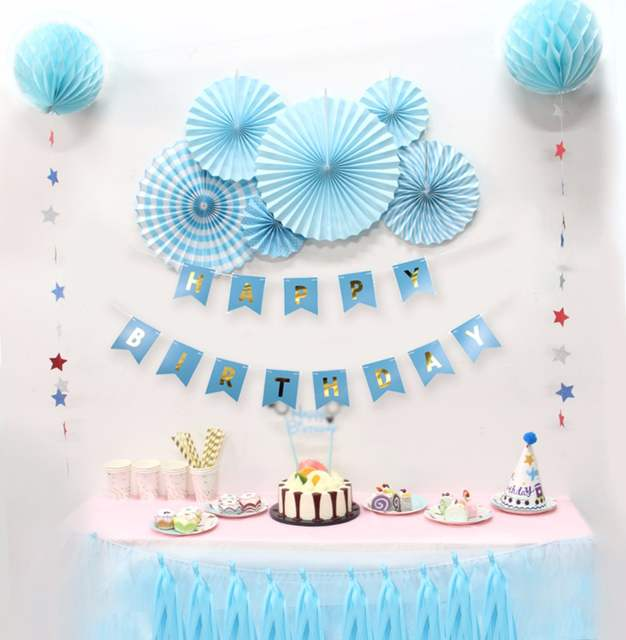 Baby Shower Boy Girl Birthdays Party Decorations DIY Kids Decor Blue Theme Birthday Holiday Supplier