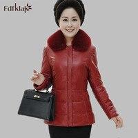 2016 New Fashion Ultra Plus Size Leather Jacket Women Coat Female Slim Parka Casaco Lapel Warm