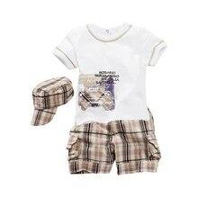 Baby Boys Infants Suit T-shirt +Plaid Shorts Pants+Hat Clothes Outfits 3pcs