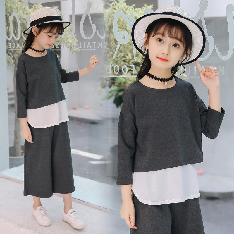 Toddler Kids Baby Girls Clothes Sets Outfits 3pcs Teenage Girls Clothing Sets Long Sleeve T-shirts + White Vest + Wide Leg Pants cropped wide sleeve top