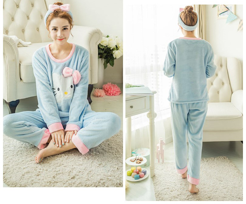 High Quality Women Pajama Sets Winter Soft Thicken Cute Cartoon Flannel Sleepwear 2 pcs/Set Tops + Warm Pants Home Clothes Mujer 102