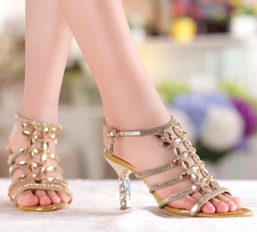 ФОТО Genuine Leather Women Sandals 2017 Fashion Summer High Heeled Shoes Crystal Slippers Designer Gold Sandals sapatos femininas