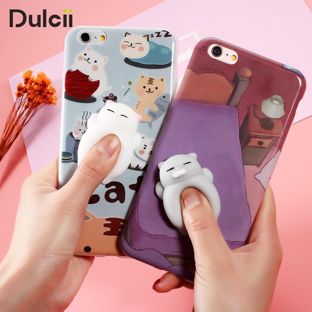 cfc5d03b41 DULCII Squishy Phone Case for iPhone 8 7 7 Plus 6s 6 plus Cases 3D Cute  Soft TPU Squishy Cat Fundas for iPhone 6 6s Cover Coque