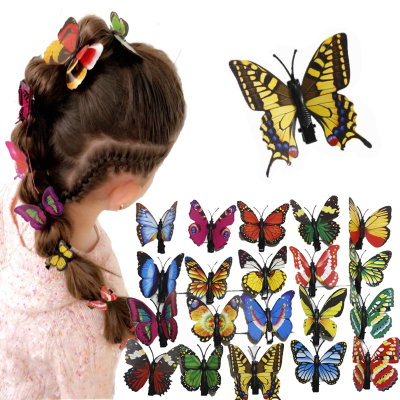 10 pcs popular women girls hairpins 3D butterfly clips for girl hair clip Boutique girls Hair Accessories Easter decoration in Hair Accessories from Mother Kids