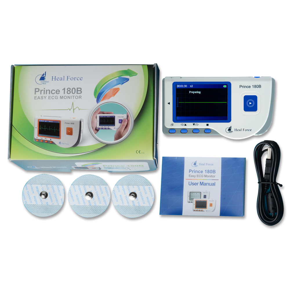 Heal Force Prince 180B Portable Household Heart Ecg Monitor Color Screen CE & FDA Approved heal force prince 180b blue color portable heart ecg monitor electrocardiogram contain ecg lead wire