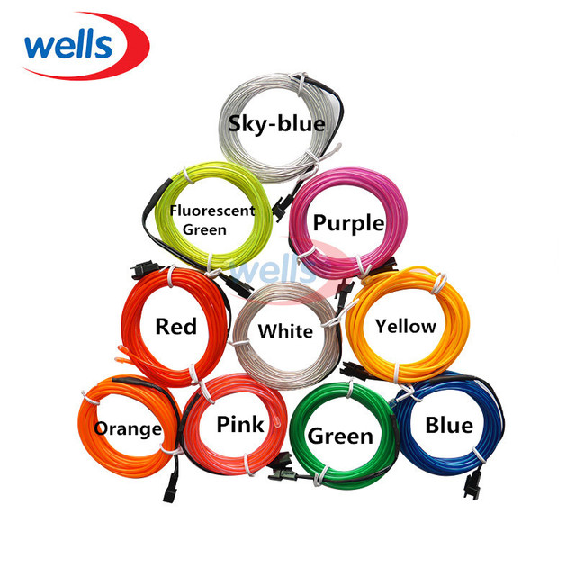 3m 10 Colors USB EL Wire,Tube Rope Battery Powered Flexible Neon ...