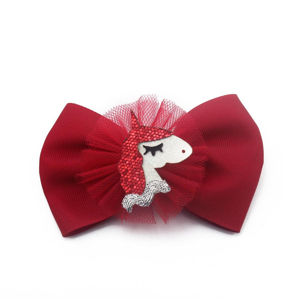 Adogirl 6Pcs Trojan Sequine Deco Hiar Clip for Girls Mesh Layered Ribbon Handmade Boutique Hair Accessories Kids Barrettes Gifts