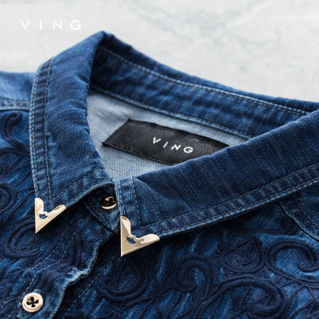 Ving Brand  Denim Shirt With Embroidery Pattern