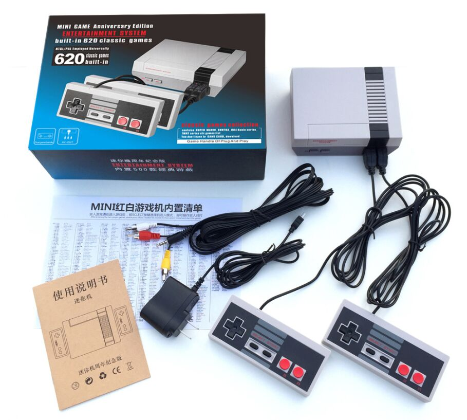 2018 new Mini Retro Classic Video Game Console Built-in 620 Games 8 Bit PAL&NTSC Family TV handheld game player Double Gamepads
