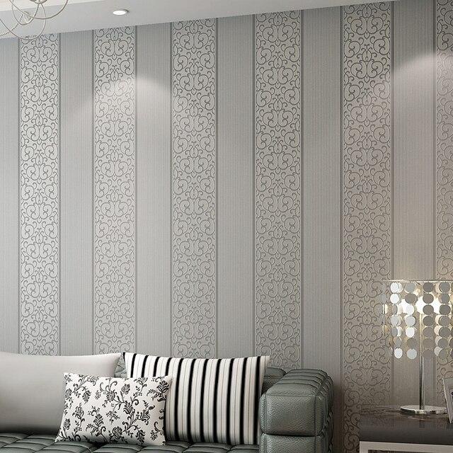 Beibehang Europea simple rayas verticales 3D papel pintado salón ...