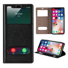 LUCKBUY Ultra Thin Flip Case Dual Window View Slim Premium Genuine Leather for iPhone X XR XS Max iPhone 7 8 Plus 6 6S Plus ultra thin pu tpu leather flip open case w stand display window for iphone 6 4 7 deep pink
