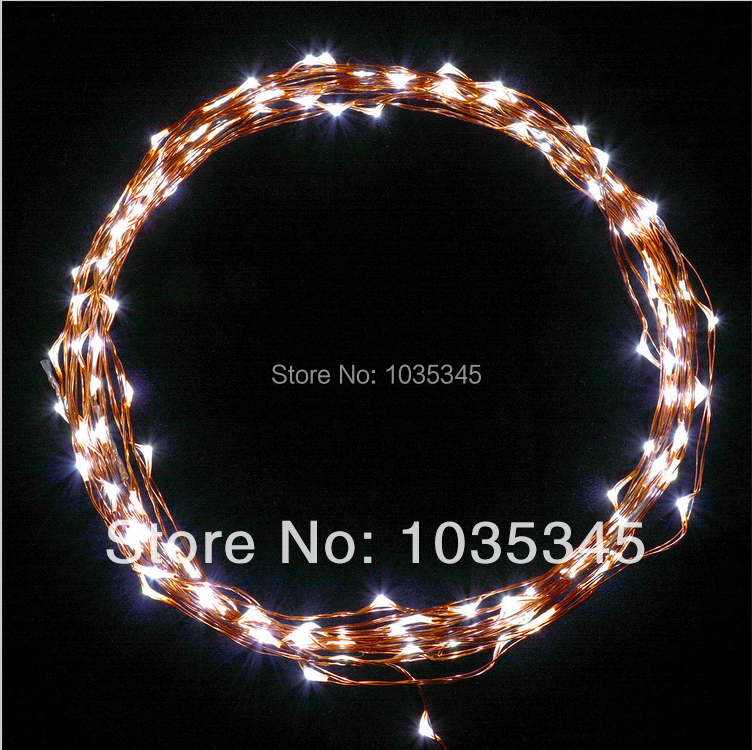 Outdoor Starry Lights 20Ft/6M 120 LED White LED Lights on Copper Wire for Indoor Garden Patio String Light with Power Adapter