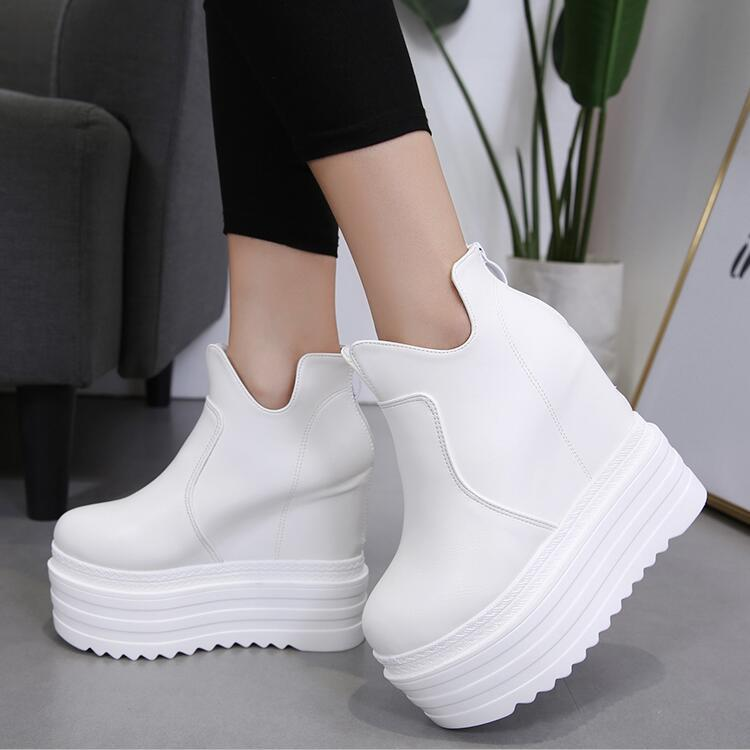 SWYIVY Autumn White Shoes Ankle Boots Woman Platform 2018 Fall New Female Casual Shoes 14cm Supper