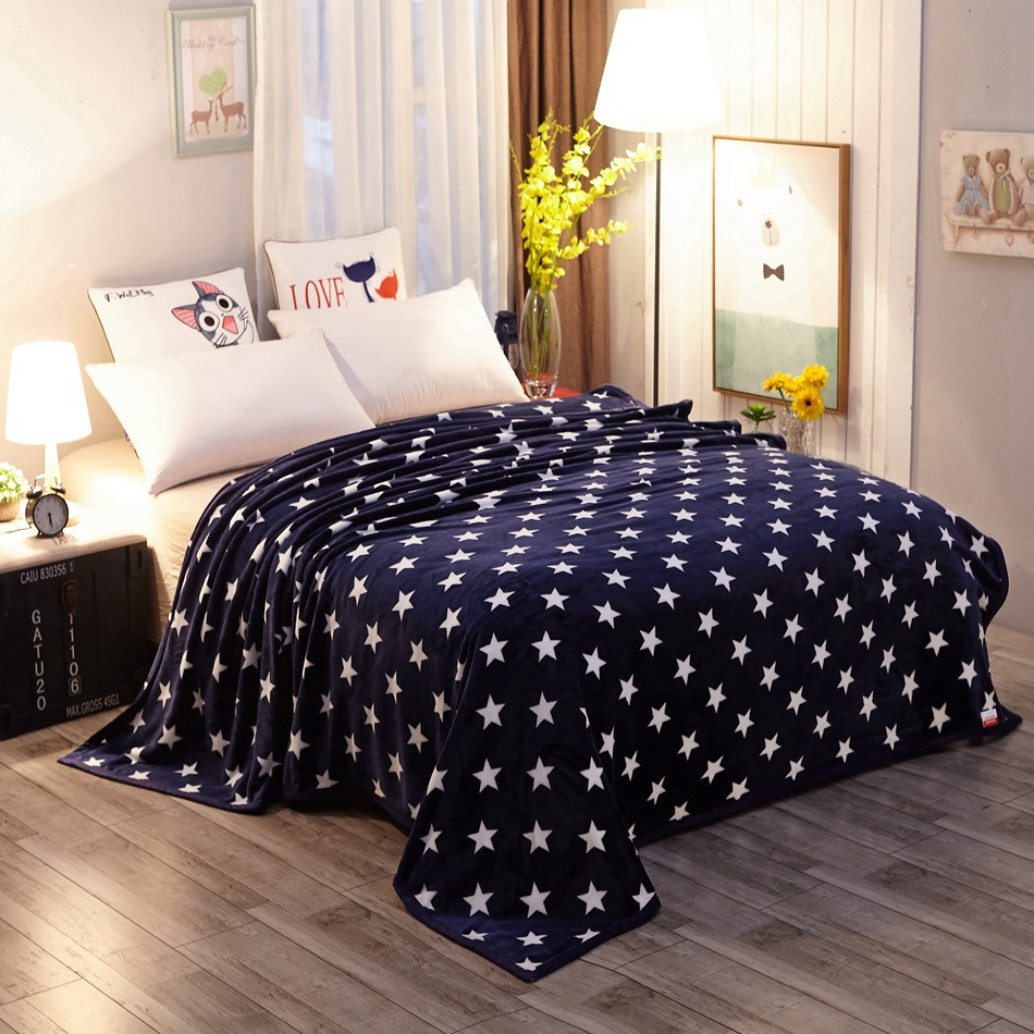 deep blue fleece blanket white star patterns design for teenagers and adults comfortable and soft cheap polyester blanket