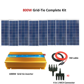 8*100W Poly Grid Solar Panels with 1000W Grid Tie Inverter Complete 800W Grid Tie solar System Kit фото